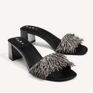Zara Black Heel Sandals with Metallic Beaded Front